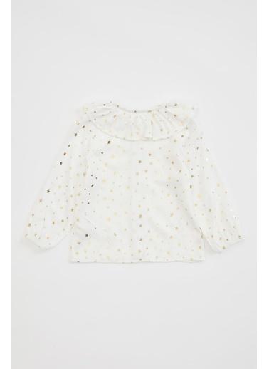 DeFacto Kız Bebek Sim Baskılı Fırfırlı Gömlek Beyaz